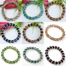 1PC Faceted Crystal Glass Rondelle Beads Bracelet Stretchy Elastic 9 Colors HOT