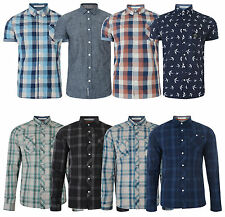 Crosshatch Men's New Slim Fit Long & Short Sleeve Shirts Check Plain Pattern