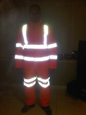 Hi Viz Vis Orange Gore-Tex Foul Weather Quilted Thermal Railway Coverall Suit