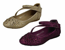 GIRLS SPOT ON RIPTAPE STRAP PARTY SHOES WITH GEM DETAIL (2 COLOURS) STYLE H2335