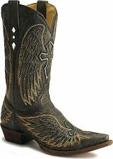 Corral Mens Gold Wing and Cross Inlay Cowboy Boots
