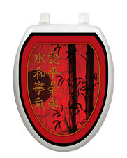 Toilet Tattoos Toilet Seat Decor Red Delight Oriental Theme Lid Cover  Red