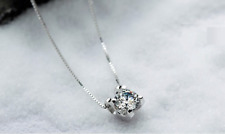 Super Fashion Sterling Silver 6mm/8mm Cubic Zirconia Pendant Necklace