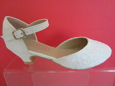 Spot On H3045 Girls Ivory Lace Bridesmaids Shoes UK Sizes 11 - 3 (KR)