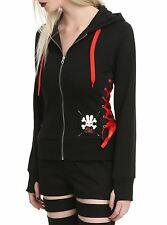 Hell Bunny Ladies Corset Hoodie Red Sweater Sweatshirt punk emo scene