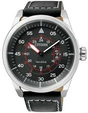 Citizen Eco-Drive Aviator Pilots Black 100m Leather Watch AW1361-01E AW1360-04E