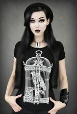 Restyle Raven In Victorian Bird Cage Tattoo Gothic Pin Up T Shirt Top