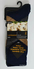 BNWT M&S 2 Pairs Lambswool Rich Socks, Argyle Pattern Shoe Size 8-9.5 and 10-12