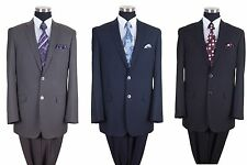 Milano Moda Men's Wool Feel 2-Button Suit and Pants in Black, Navy, Gray 57026