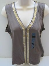 NEW BANANA REPUBLIC Women's Brown Sequin Trim Sleeveless Top Size S-XL NWT