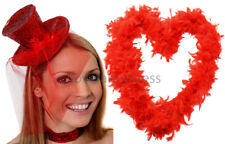 RED GLITTER TOP HAT & FEATHER BOA LADIES BURLESQUE FANCY DRESS HEN NIGHT PARTY