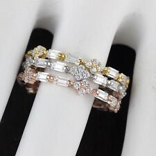 Womens 925 Sterling Silver CZ Micro Pave Baguette Engagement Band 3pcs Ring