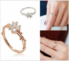 Micro-inlay CZ Four-leaf Clover Silver/Rose Gold Engagement Wedding Ring SZ 6-8