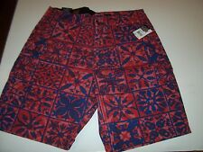 New VOLCOM khaki red blue chino long walking Faceted Mixed shorts sz 34