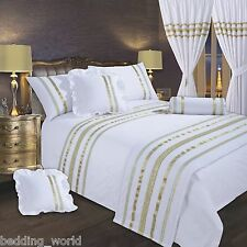 WHITE / GOLD RIBBON 200 THREAD COUNT COTTON LUXURIOUS BEDDING OR CURTAINS