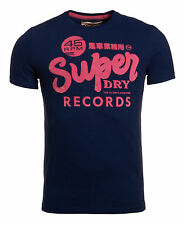 New Mens Superdry Factory Second Vintage 45 Records T-Shirt Navy Blue