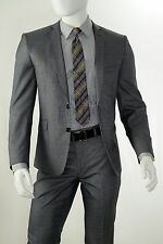 Men's 2 Button Single Breasted Slim Fit Center Vent Notch Lapel Suit S62LU Grey