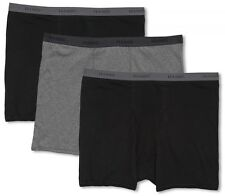 Big Men's Underwear Cotton BOXER BRIEFS 3-Pack 3XL - 7XL Blacks Gray Hanes #1226