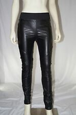 New Woman's Black High Waisted Vegan Leather Quilted Jeggings Stretchy Pants