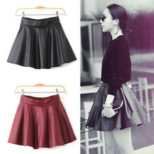 Sexy Dress Womens Black Red Faux Leather Mini Skirt High Waist Pleated Skater