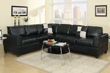 Black Sectional Sofa set Leather sofa couch sectional sofa 2 Pc Living room set