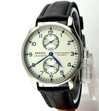 43 mm Panis PORTUGUESE FAMILY steel case silver dial power reserve men's watch