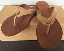 WOMENS TORY BURCH THORA SANDAL THONG FLIP FLOP PATENT LEATHER ROYAL TAN NEW!!