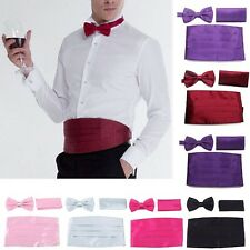 2015 Mens Satin Cummerbund Bowtie Pocket Square Hanky Set Formal Tuxedo Prom s4a
