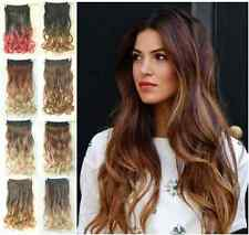 Clip in on Ombre Hair Extensions Dip dye Synthetic Straight Curly Wavy