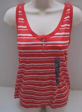 BANANA REPUBLIC Womens Red Striped 1/2 Button Tank Top Size S,M NWT
