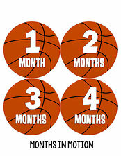 Baby Boy Monthly Milestone Birthday Stickers 12 Month Sticker Basketball #225