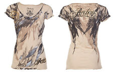 Archaic AFFLICTION Womens T-Shirt LOVE Feathers Tattoo Biker Sinful S-XL $40 c