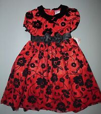 NANNETTE® Girl's 5 Red Flocked Floral Holiday Christmas Dress *NWT $54