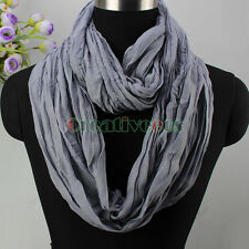 New Fashion Women's Solid color wrinkle Comfy Infinity Loop Cowl Circle Scarf