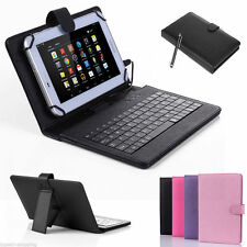 "New 7"" USB Keyboard Leather Case Folio Cover for Android 7 inch Tablet w/ Stylus"
