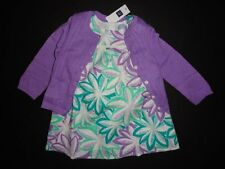 NWT Baby Gap 12-18 18-24 Palm Tree Flutter Sleeve Dress+Purple Pointelle Cardiga