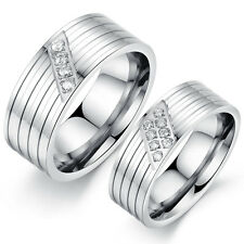 Charm Stainless Steel Rings Engagement With Love Crystal Jewelry Wedding Silver
