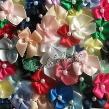 Mini Satin Ribbon Bows with Single Pearl - Choose Colour & Pack Size - Free Post