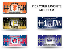 MLB Teams - #1 Baseball Fan Metal License Plate Tag Auto Car Truck Wall