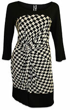 NEW NEXT LADIES PLUS SIZE BLACK WHITE PRINTED SMART OFFICE DRESS SIZE 20 - 26