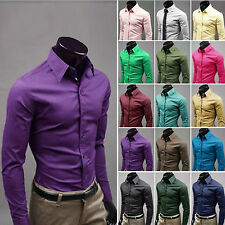 Tops Stylish Men's Luxury Casual Shirt Slim Fit Dress Shirts Long Sleeve Clothes
