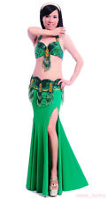 New Hand-sewn Belly Dance Costume Suit 2 Pics of Bra&Belt 34B/C 36B/C 11 colors