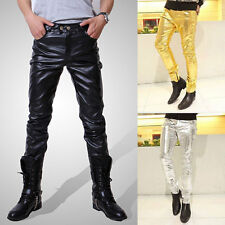 New Fashion Men's Casual Slim Fit Skinny PU Faux Leather Jeans Trousers Pants df
