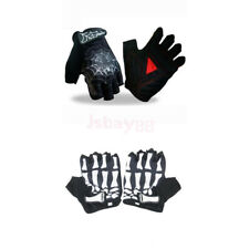 Goth Punk Cycling Motorcycle SKULL Skeleton Bone/Spider Racing Fingerless Gloves