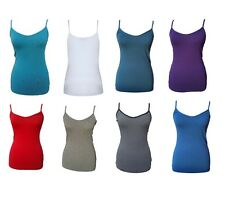 M&S Ladies Stretchy Cotton White Grey Blue Red Cami Vest Top 8 10 12 14 16 18