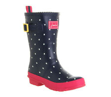 Womens Joules Molly Welly NAVY and WHITE POLKA SPOT Boots Pink Sole