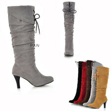 Women's High Heel Knee Wedge High Boots Foldable Lace Up Shoes AU All Size L439