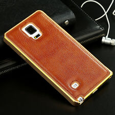 Luxury Genuine Leather Aluminum Alloy Bumper Back Case Cover For Samsung Galaxy