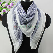 Women's Vintage Floral Flower Print Silver Wire Square Scarf Ladies Shawl Wrap