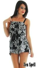 Romper Jumper One Piece Jumpsuit Playsuit Button Front Black White Floral S M L